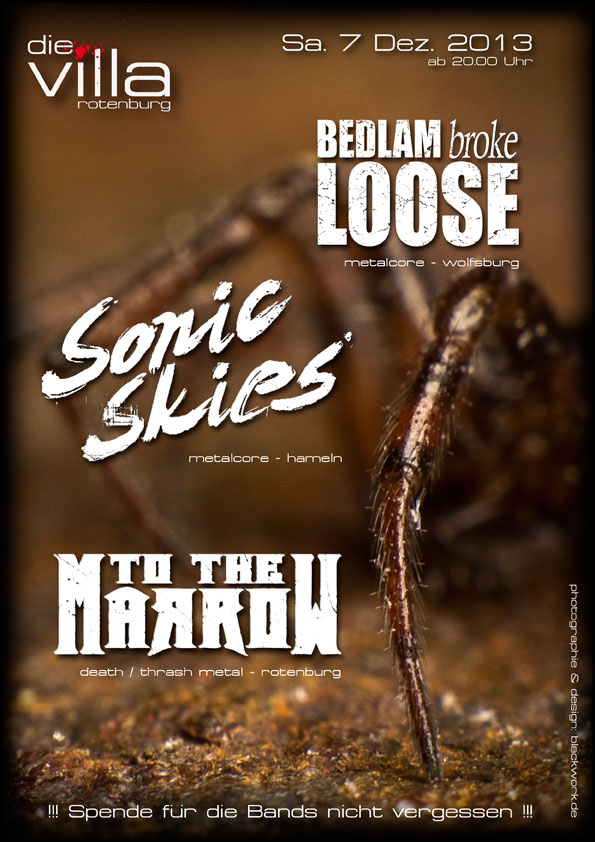 Konzert am 07.12.2013: Bedlam Broke Loose (Metalcore), Sonic Skies (Metalcore), To The Marrow (Death Metal)